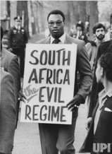 World heavyweight champion Larry Holmes was one of many American's who stood up for demiocracy in South Africa.