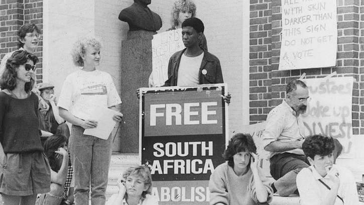 AN international student protest against apartheid.