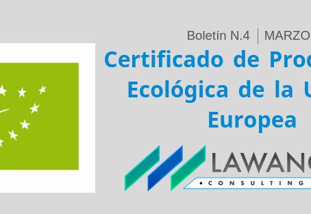Certificado de Producción Ecológica de la Unión Europea