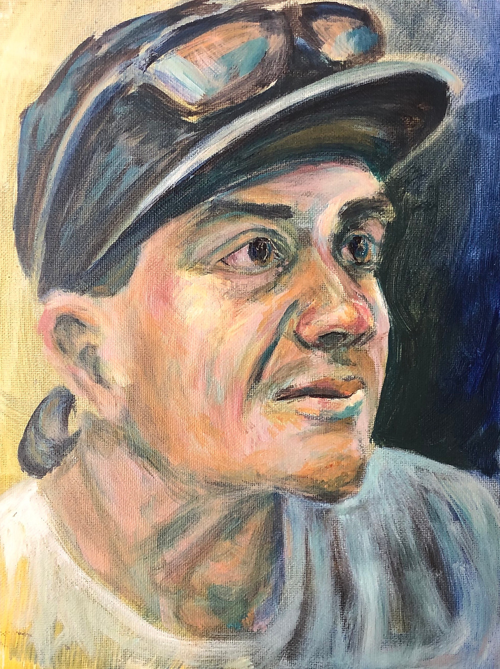 Acrylic portrait of a young man wearing a black ball cap with sunglasses resting on the brim.