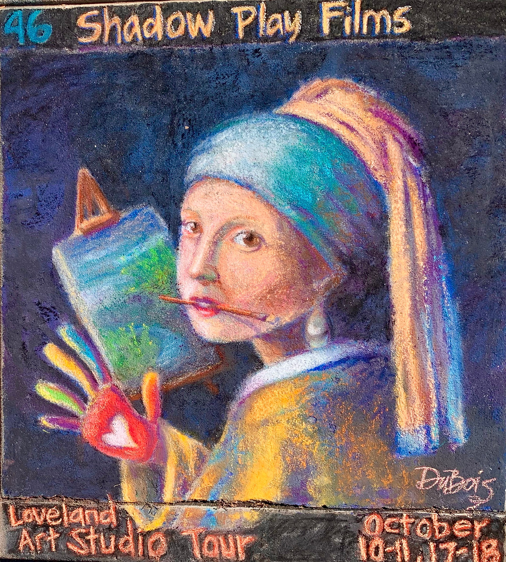 Sidewalk pastel painting of Vermeer's Girl with a Pearl Earring shown as an artist.