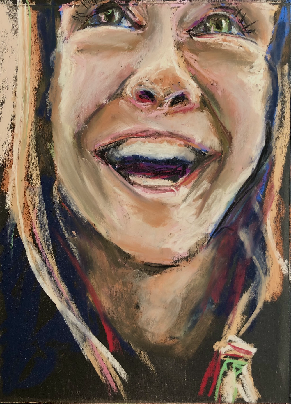 A pastel portrait of a woman looking upward and laughing