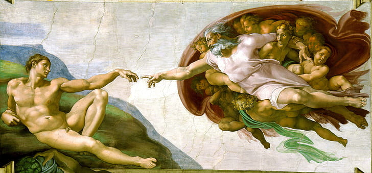 The Creation of Adam by Michelangelo, painted on the Sistine Chapel