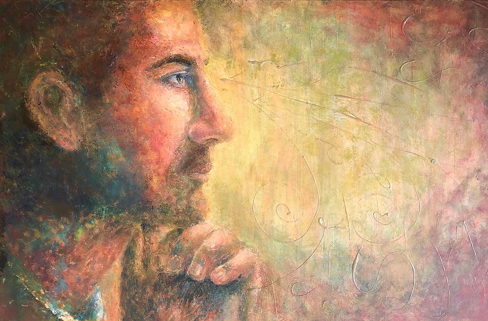 Acrylic painting profile of a man looking ahead and praying