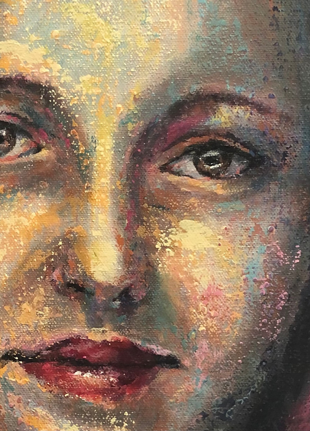 Close-up of an acrylic portrait of a woman.