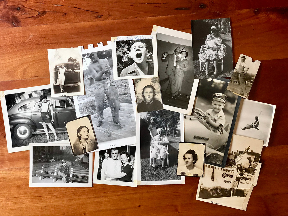 A collage of black and white family photographs from the 1940's and 1950's.
