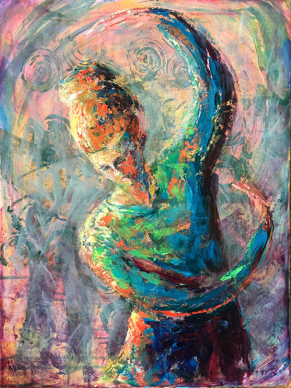 Impressionist style painting of a woman dancing