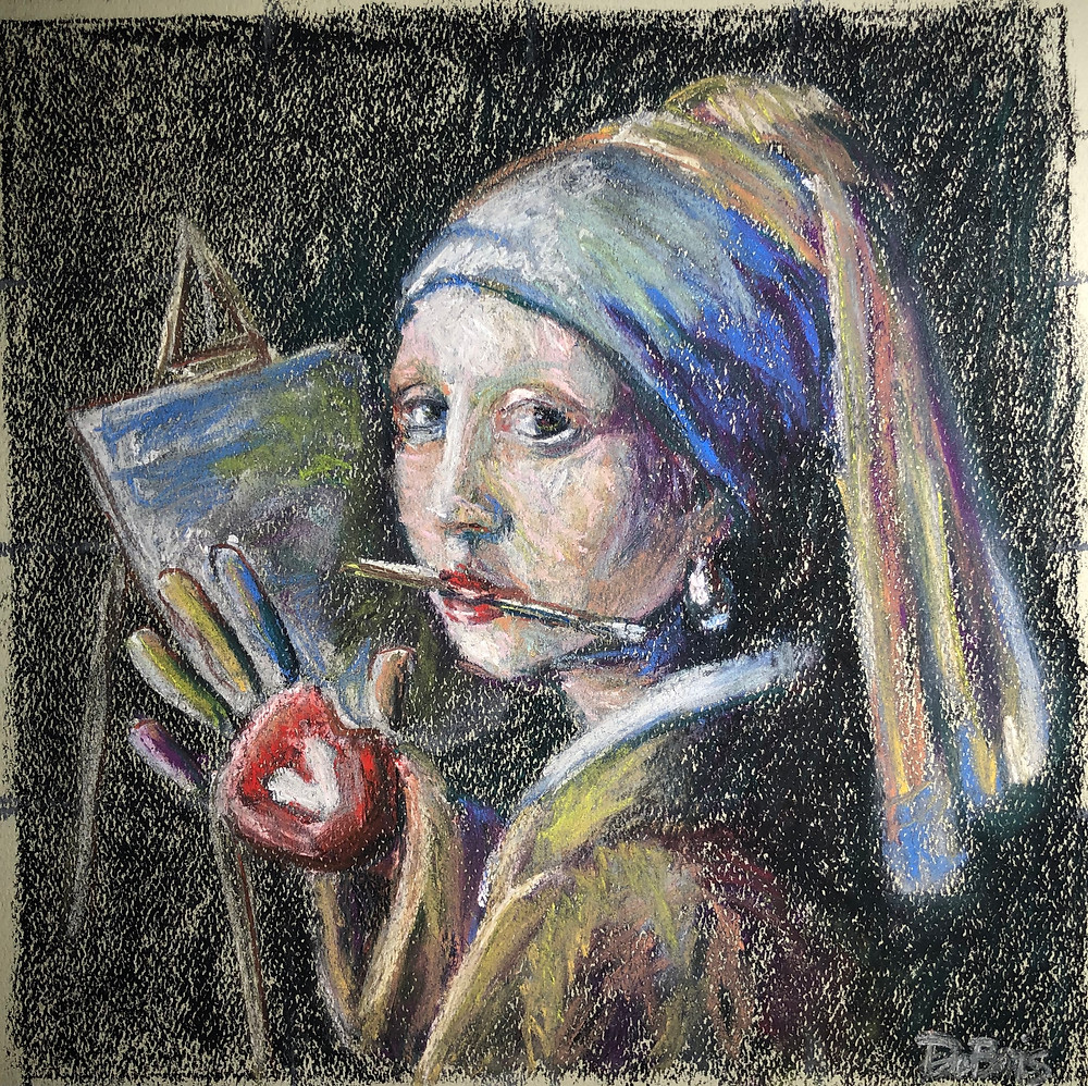 Pastel painting of Vermeer's Girl with a Pearl Earring, where the girl is also an artist.