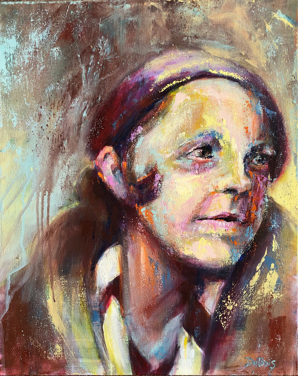 An acrylic portrait of a woman from the 1920's.