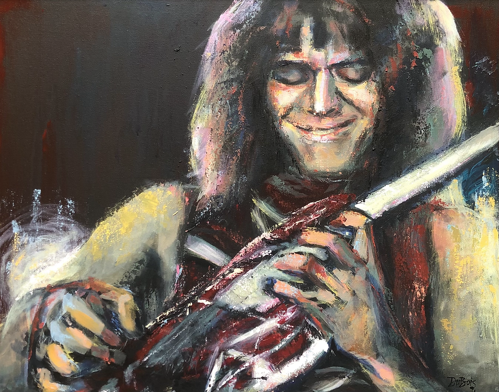 A painting of Eddie Van Halen in Concert playing his famous Frankenstrat