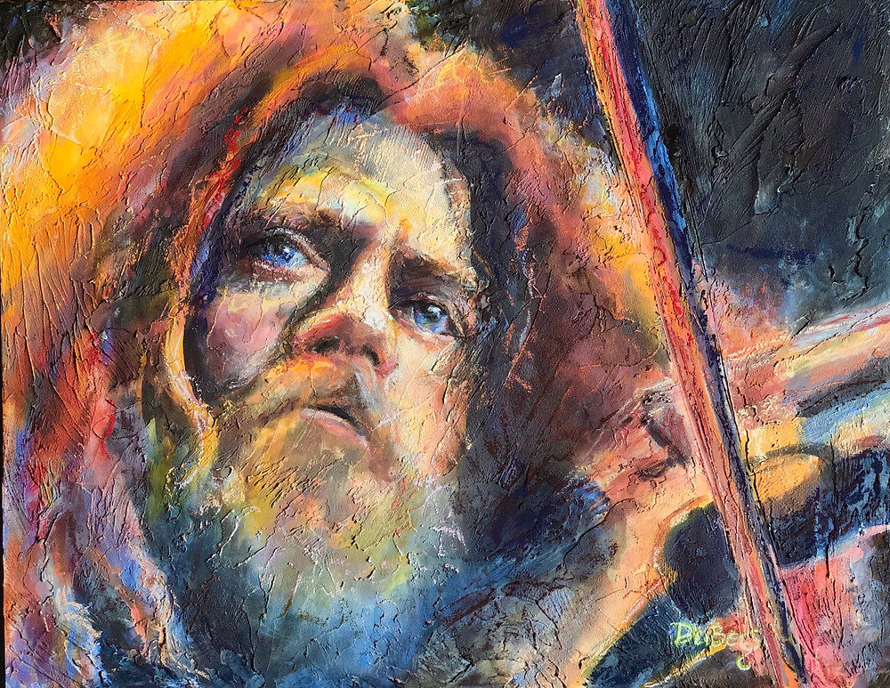 pastel painting of Robby Steinhardt, a man with red hair and beard, as he plays violin for the group Kansas.