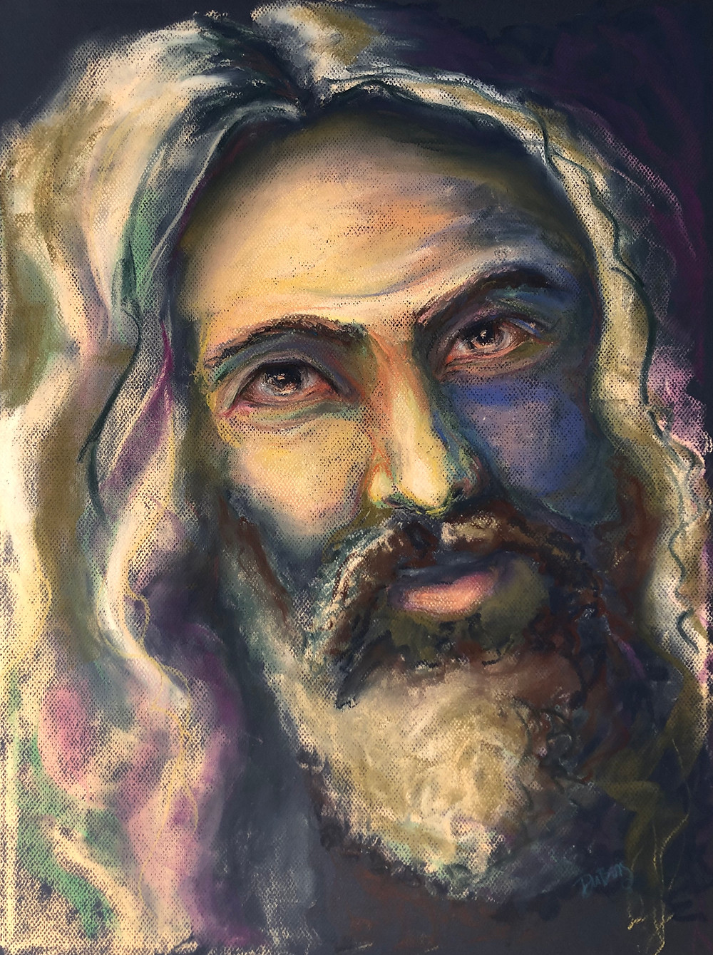 A colorful pastel portrait of Jesus Christ