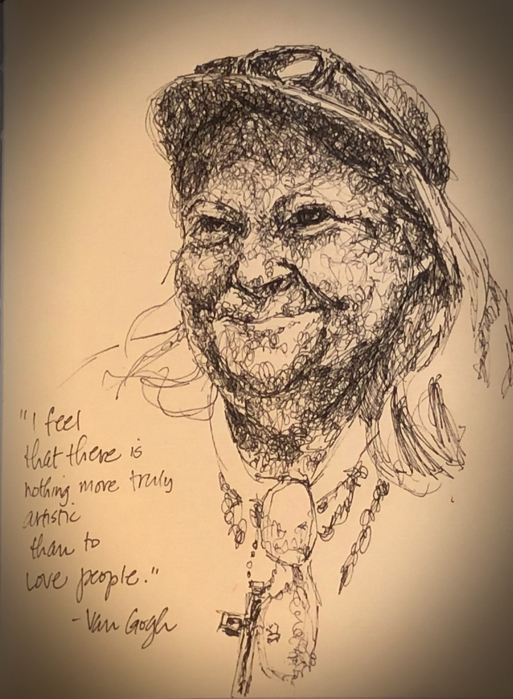 Pen and ink portrait of an elderly woman wearing a ball cap and a cross necklace.
