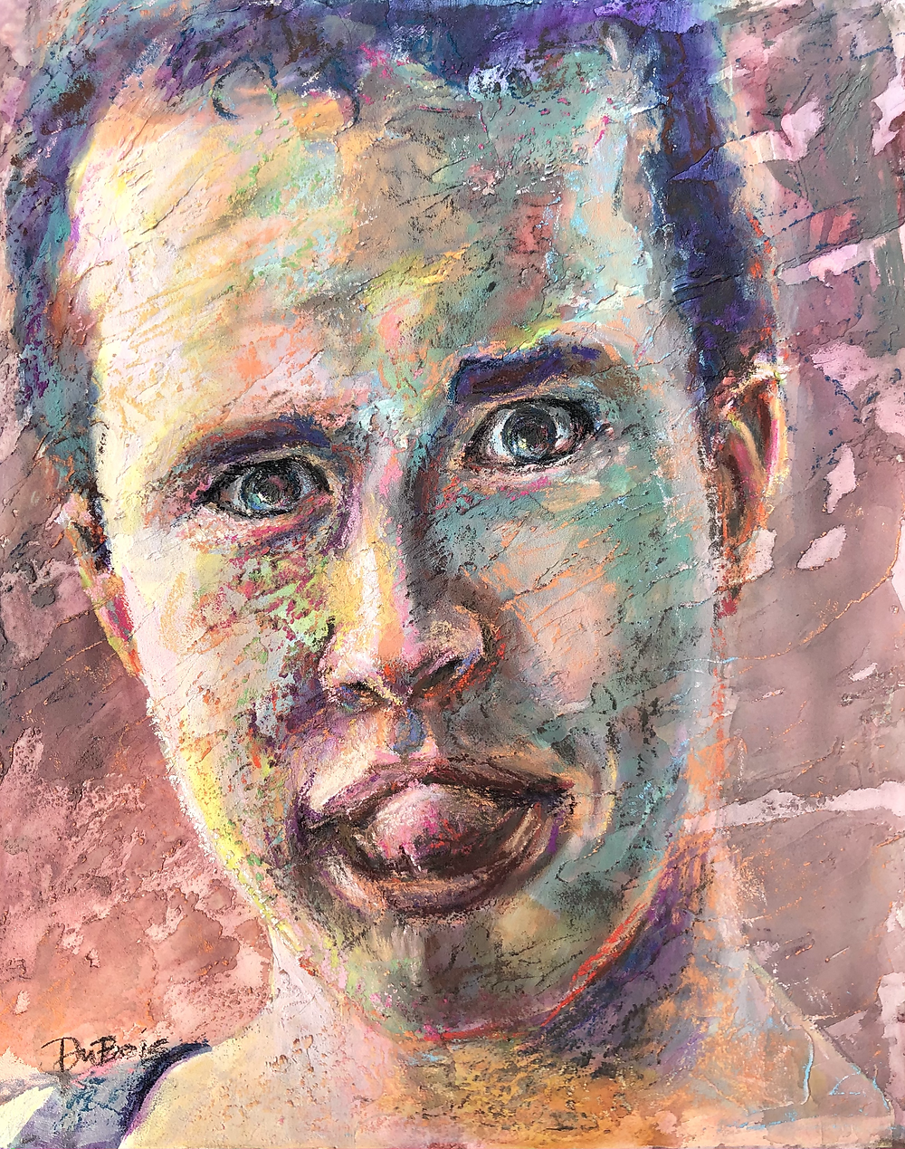 Mixed media portrait of a young man sticking out his tongue