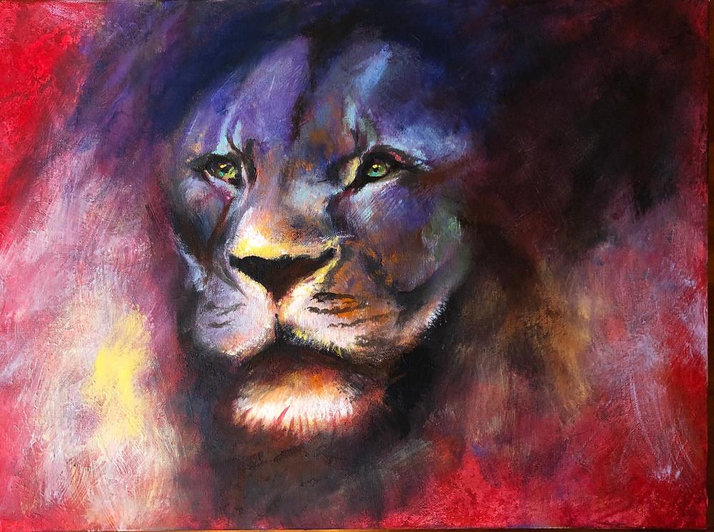 A colorful portrait of a lion