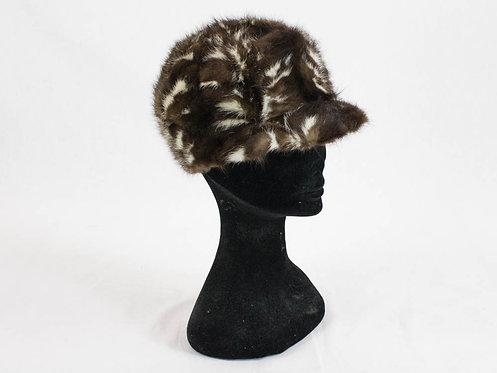 60s vintage beret mink fur