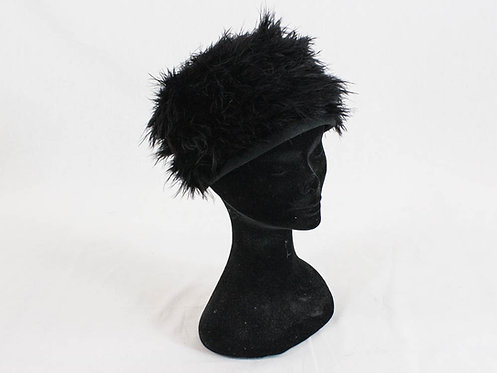 60s vintage black feathers beret headdress