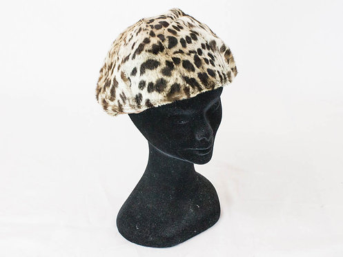50s leopard hat, beret