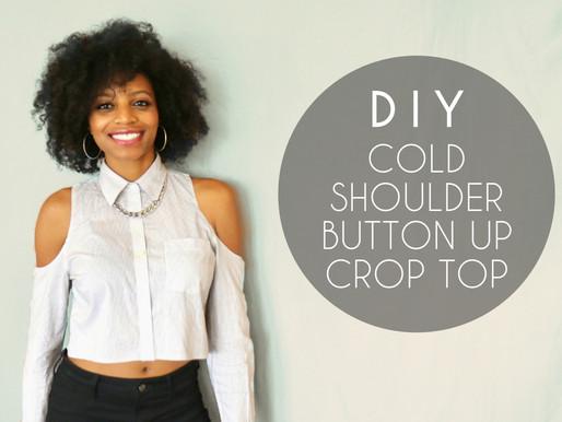 DIY Cold Shoulder Button-Up Crop Top (No Sewing)