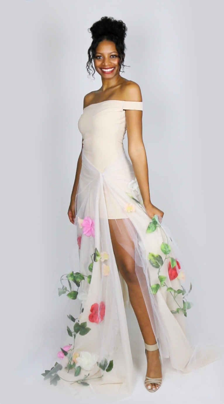 Miaira Jennings - how to make a diy flower gown from basic $10 shapewear