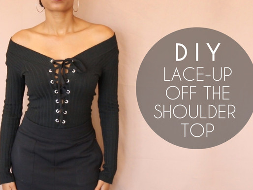 DIY Lace-Up Off the Shoulder Top (No Sewing)