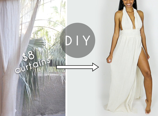DIY Plunging Dress Out of $8 Curtains (Easy Sewing!)