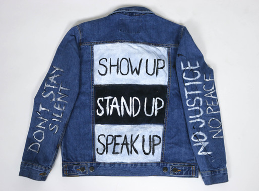 "Hand painted ""Show Up"" Jackets Now Available In Partnership With Black-Owned Brand Overqualified"