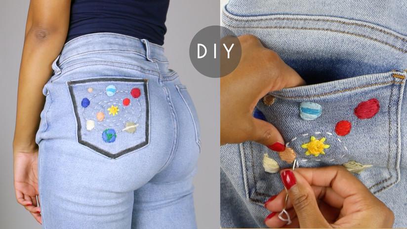 diy hand embroidered denim jeans pocket