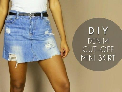 DIY Denim Cut-Off Skirt (No Sewing)