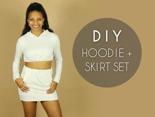 DIY Crop Top Hoodie + Skirt Set