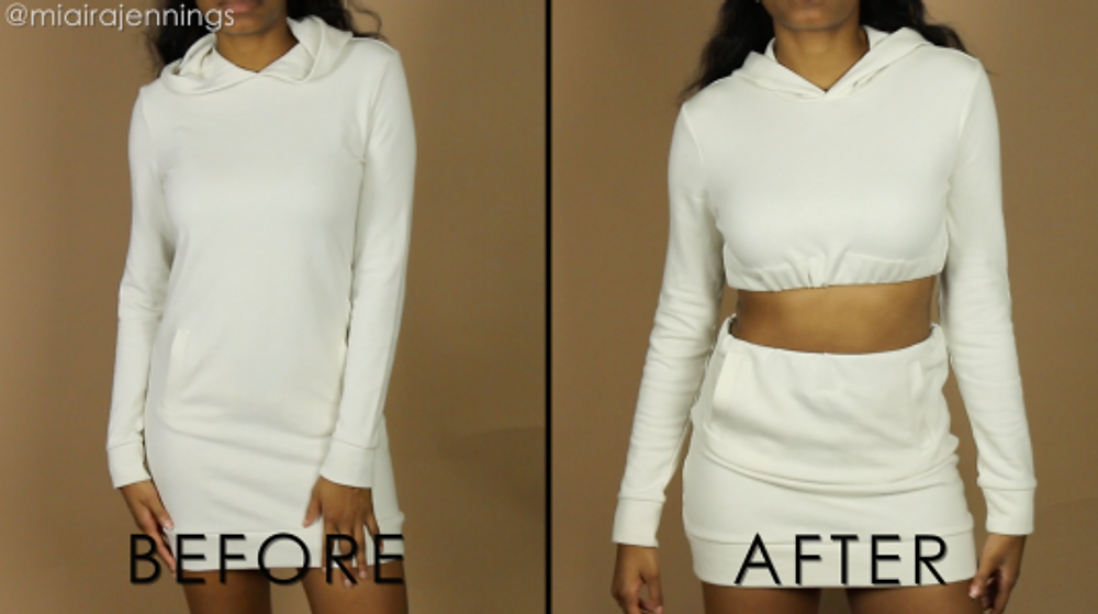 crop top hoodie skirt matching set before and after