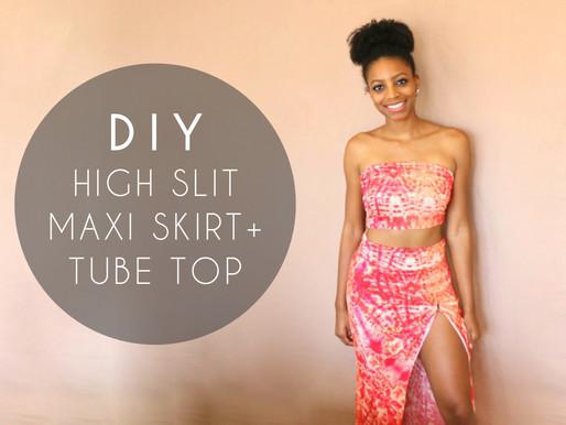 DIY High Slit Maxi Skirt + Tube Top (No Sewing)
