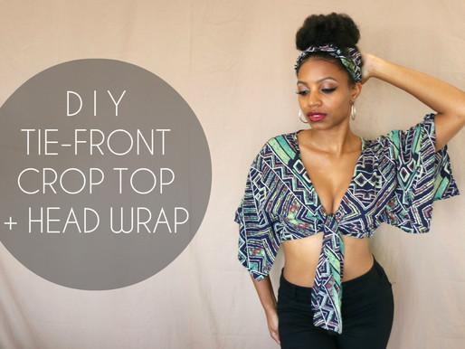 DIY Tie-Front Crop Top + Head Wrap (No Sewing Required)