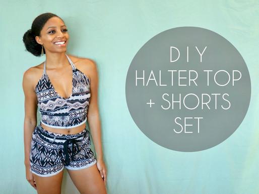 DIY Halter Top + Shorts Set (No Sewing Required)