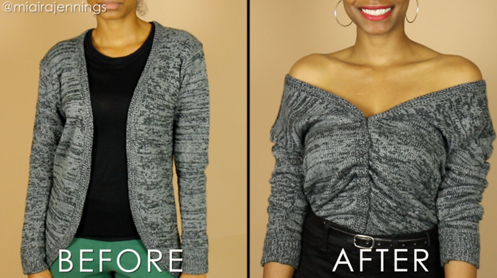 before and after diy off the shoulder ruched sweater top