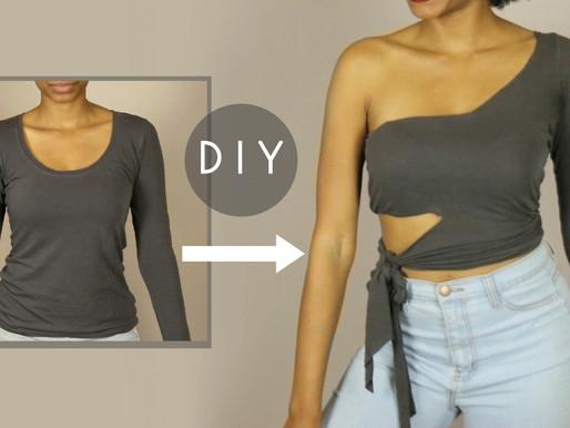 DIY One Shoulder Tie Waist Crop Top (NO SEWING)