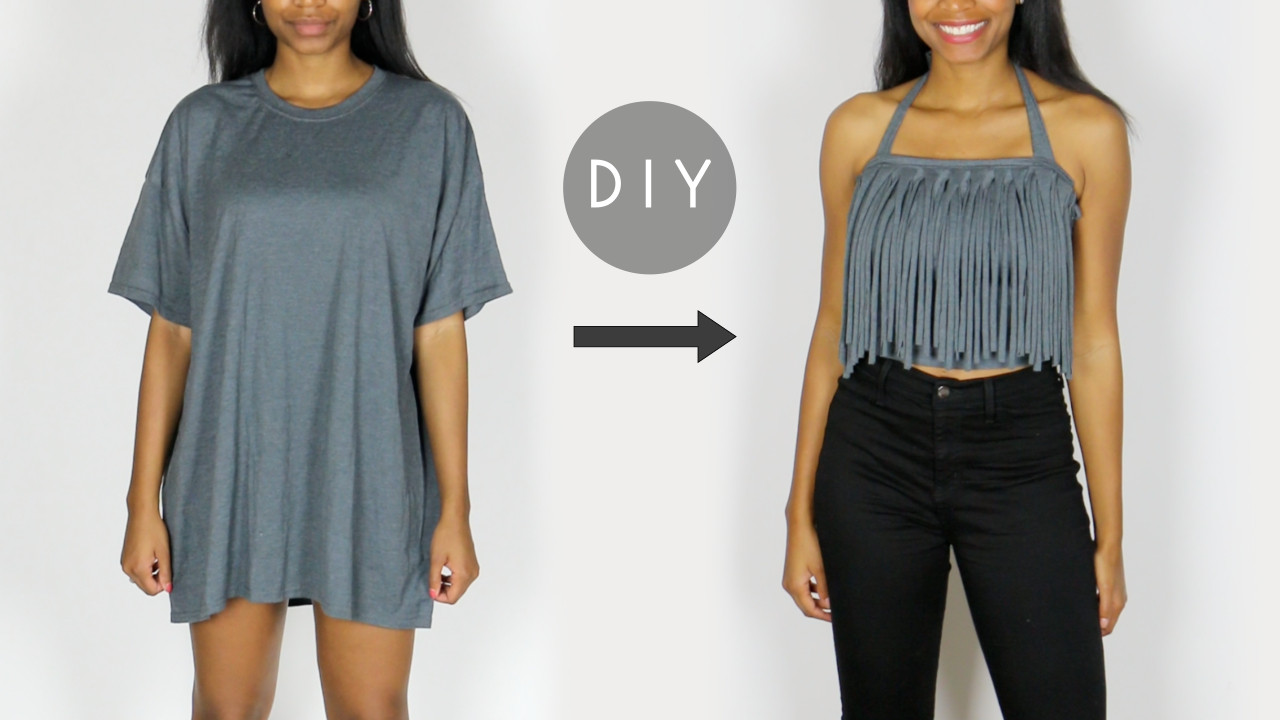 how to make diy tshirt fringe halter top