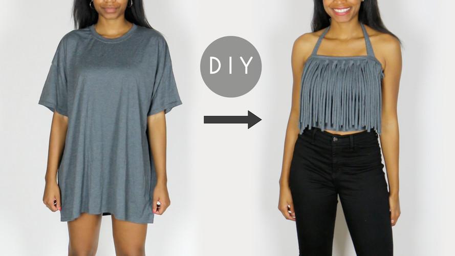 how to make diy tshirt fringe halter top