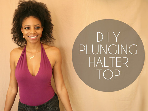 DIY Plunging Halter Top (No Sewing Required)