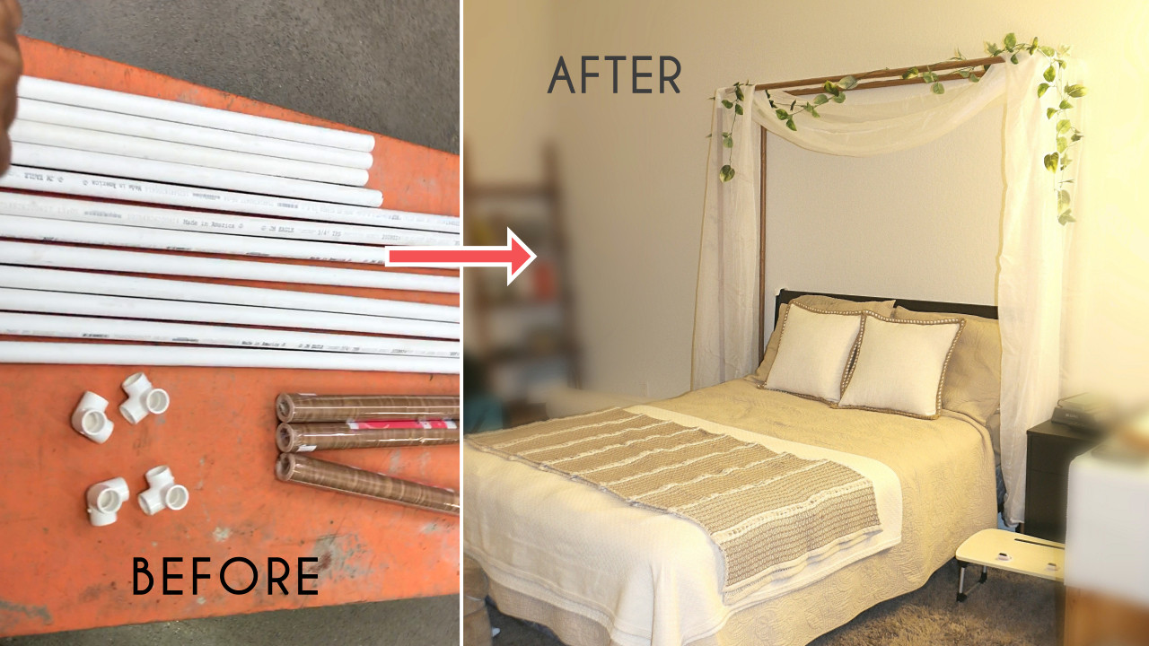 diy faux wood pvc pipes bed canopy miair