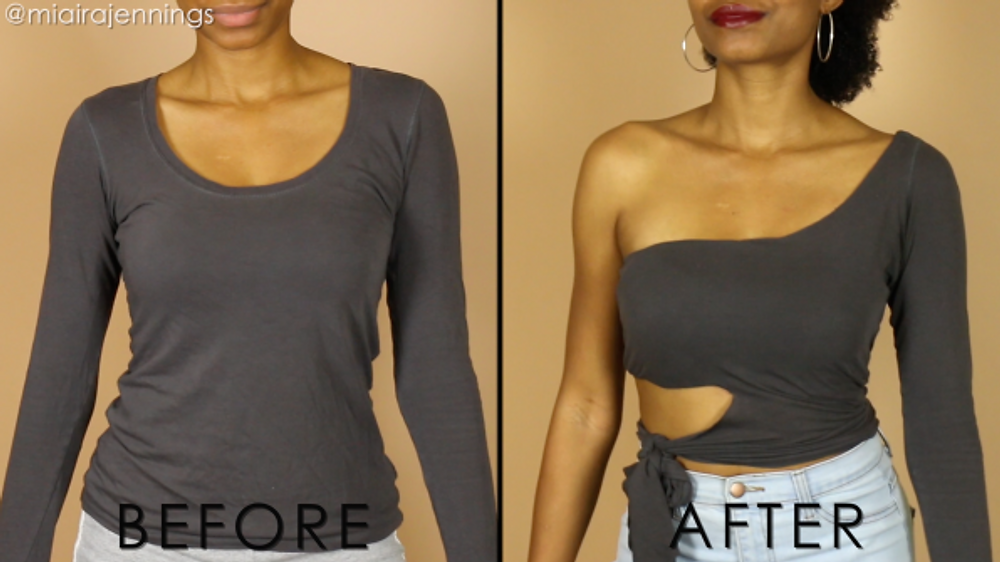 before and after diy one shoulder cut out tie waist crop top no sewing