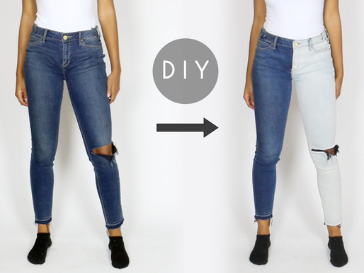 DIY Two-Tone Half Bleached Jeans