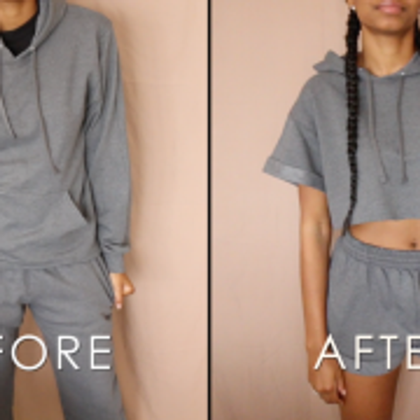 DIY Crop Top Hoodie Shorts Set No Sewing – Before and After