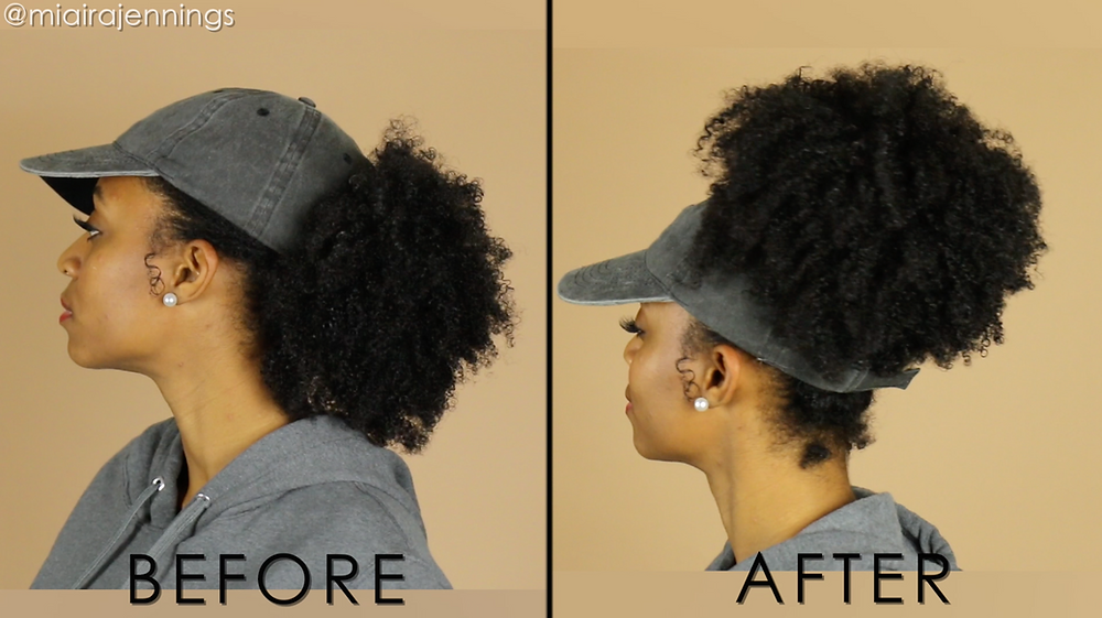 DIY Backless Hat Natural Hair before after