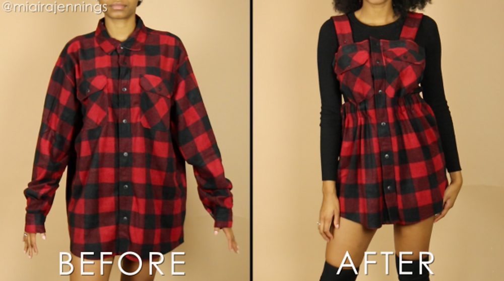 diy overall dress from large flannel no sewing before after