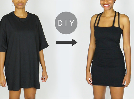 DIY Little Black Dress From an Oversized Men's T-Shirt (Easy Sewing!)