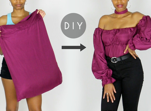 DIY Puff Sleeve Off-the-Shoulder Top Out of Pillow Cases (Easy Sewing!)