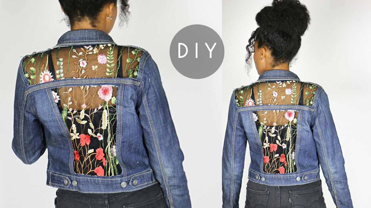 diy embroidered sheer cut out denim jack