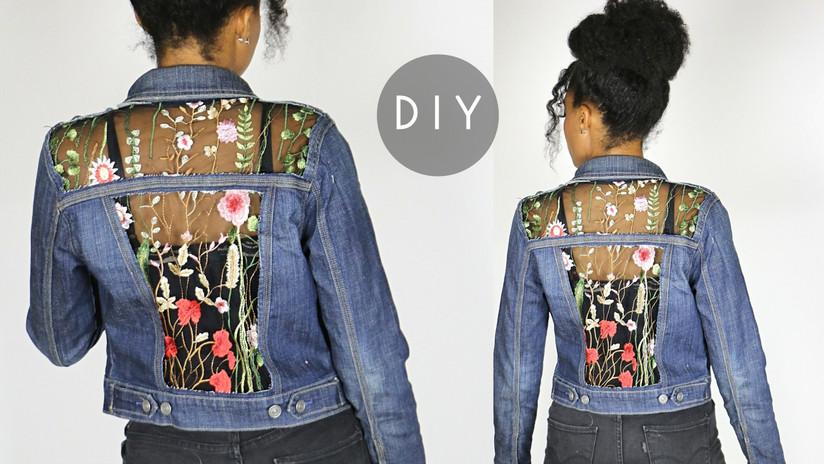 diy embroidered sheer cut out denim jack