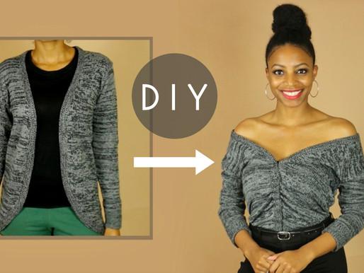 DIY Off the Shoulder Ruched Sweater